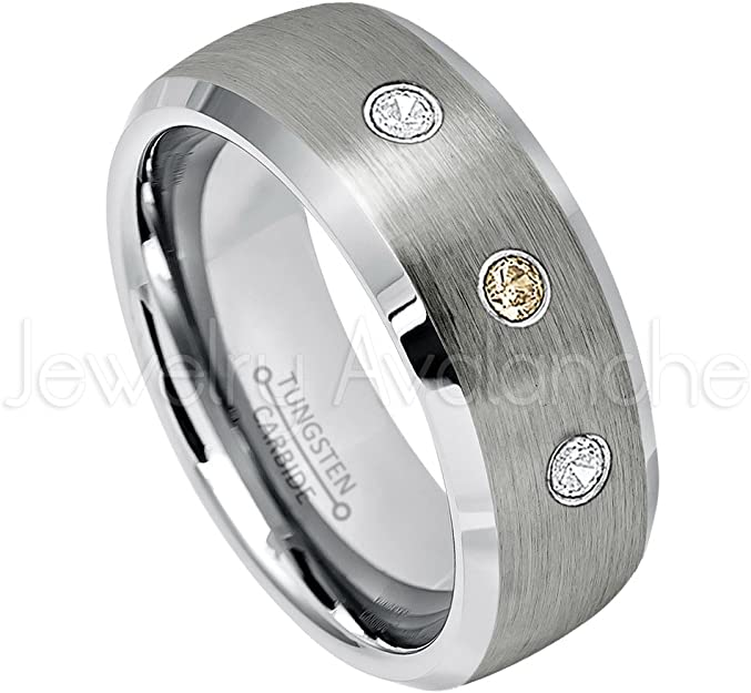 0.21ctw Smokey Quartz /& Diamond 3-Stone Anniversary Band November Birthstone Ring 8mm Brushed Semi-Dome Comfort Fit Tungsten Carbide Ring Tungsten Wedding Ring