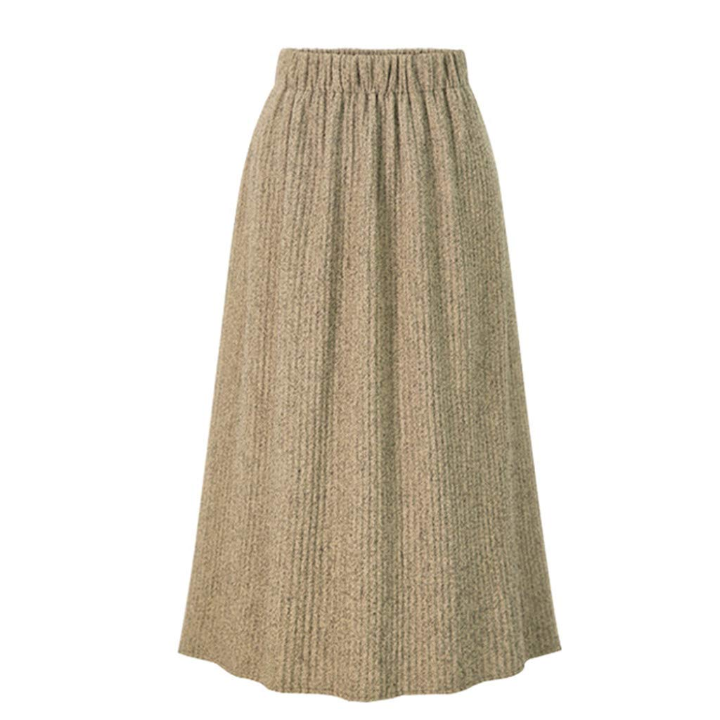 FEDULK Womens Casual Skirt High Waist Elastic Pure Color Pleated Long Beach Skirt Plus Size L-5XL(Beige, XXXXX-Large) by FEDULK