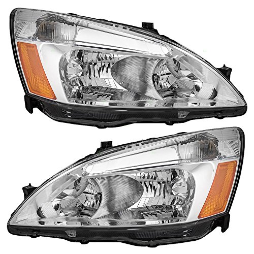 Headlights Headlamps Driver and Passenger Replacements for 03-07 Honda Accord 33151-SDA-A01 33101-SDA-A01