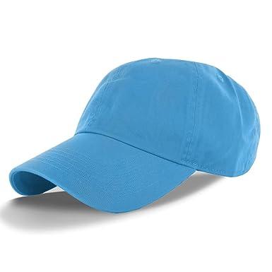 648645fb626 WALLER PAA Cotton Cap Baseball Caps Hat Adjustable Polo Style Washed Plain Solid  Visor Aqua