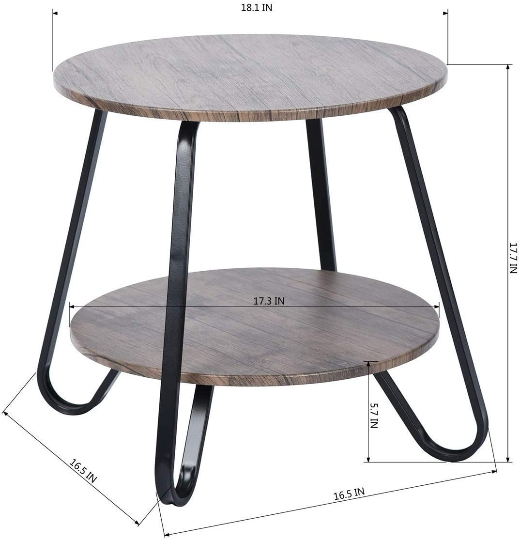 Rustic End Table Industrial Sofa Side Table for Living Room Small Round Nightstands Modren Night Table 18.1x18.1x17.7 inches, Brown