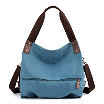 Azul MINGZE Bolsos de Mujer Bolso Bandolera Bolso Lona Bolso de Hombro Bolso Tote Bolso Shopper
