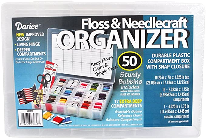 One Box of 50 Plastic Bobbins Floss /& Needlecraft Organizer P5D1