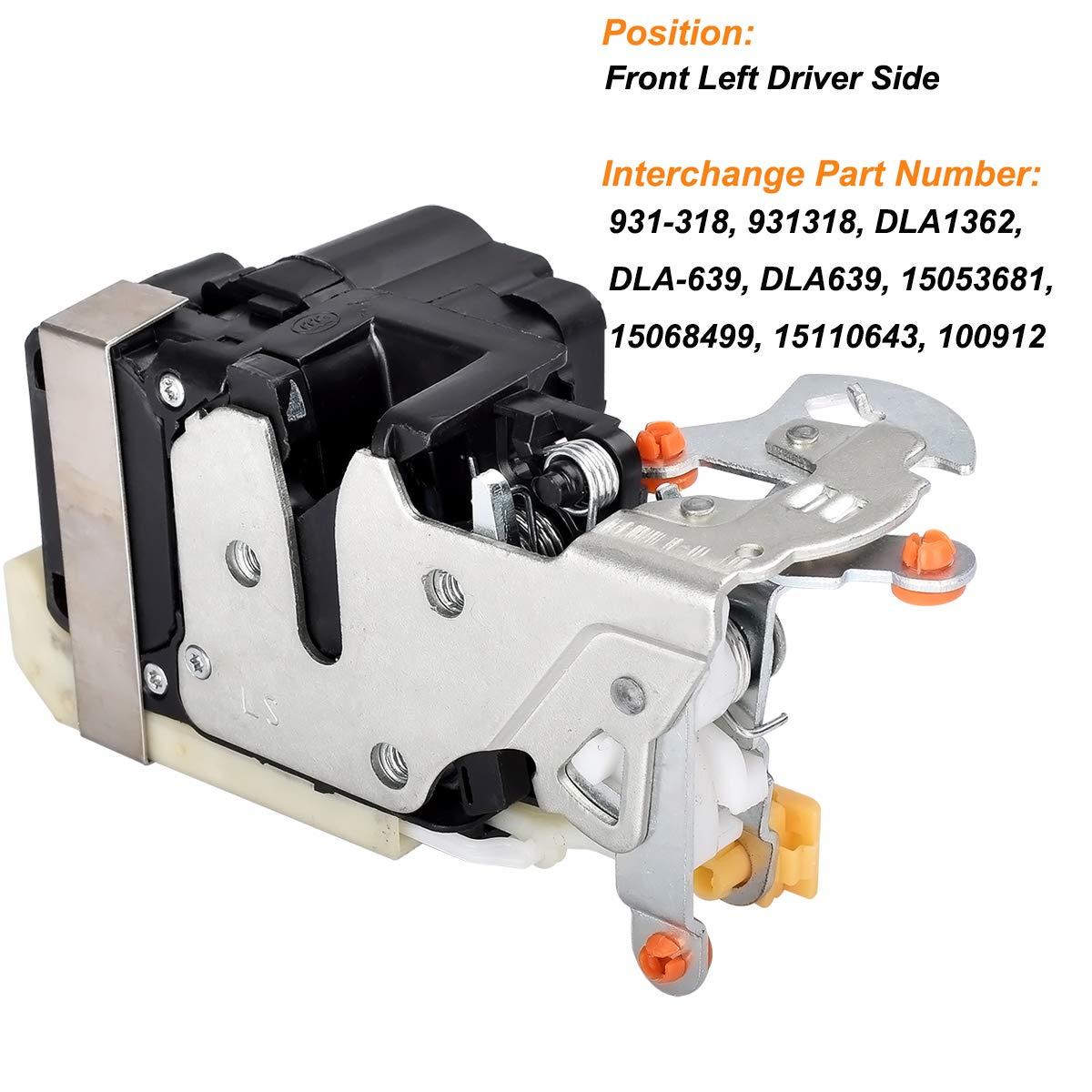 FAERSI Driver Side Front Door Lock Actuator for Lesabre Escalade Avalanche Silverado Suburban Tahoe Sierra Yukon Bonneville Replaces 931-318 15053681 15068499 15110643 DLA639
