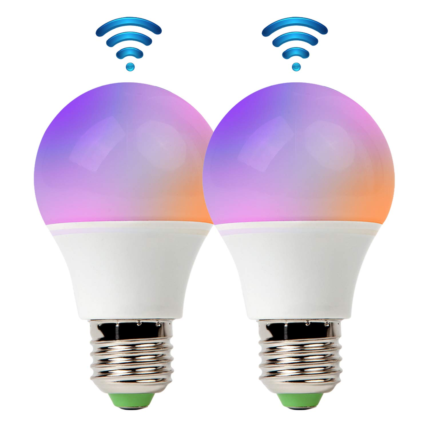 RGB LED Smart Bulb,WiFi Light Bulb,Multicolor,Dimmable,No Hub Required, 40W Equivalent, Works with Amazon Echo Alexa and Google Home Assistant,2700K-6500K,450lm,CE/FCC/UL Listed (2-Pack-4.5W)