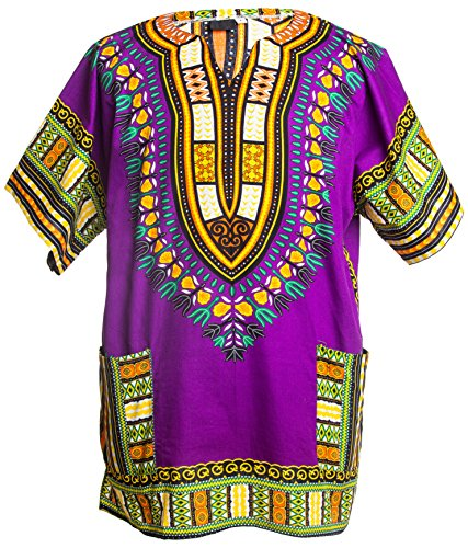 Men's Dashiki Oversized Shirt, Purple-Large ()