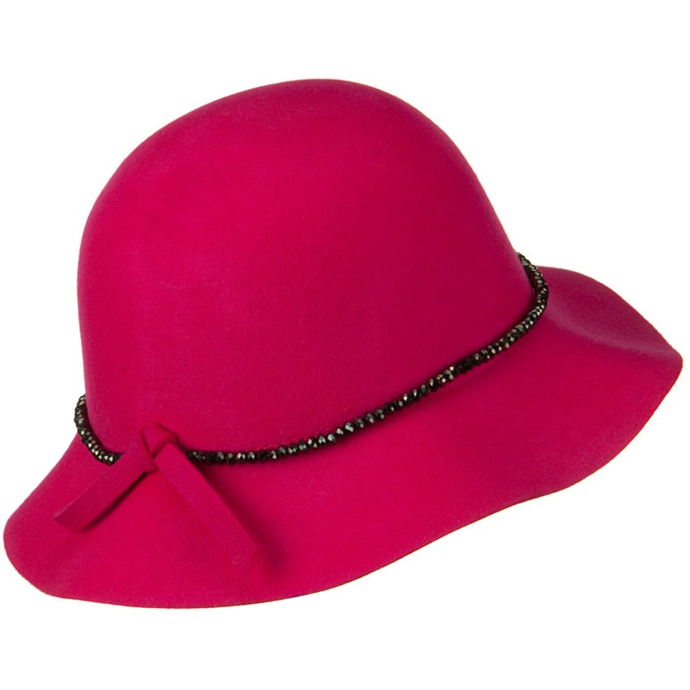 d5b42122b17 Short Brim Floppy Hat with Bead Band - Fuschia OSFM at Amazon Women s  Clothing store  Bucket Hats