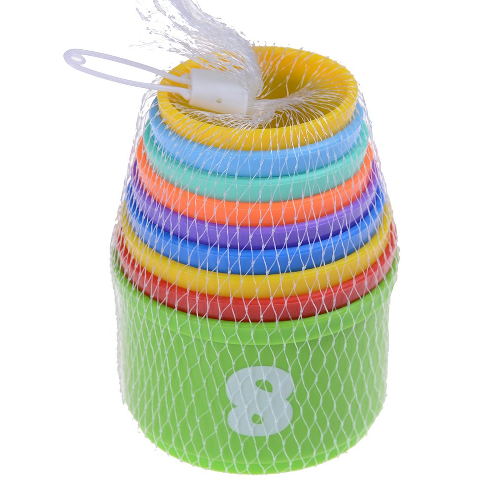 Kayueti 2 Pack Colorful Stacking Cups Nesting Educational Toys Stack Up Cups Set Baby Kids Toddlers Figures Letters shandongkuyuetiyuyongpinyouxiangongsi
