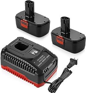 Energup 2Pack 3.5Ah 19.2Volt Battery for Craftsman C3 DieHard Replacement 130279005 130279003 130279017 315.115410 + Battery Charger for Craftsman C3 9.6Volt Craftsman 19.2Volt Ni-Cd Lith-ion Battery