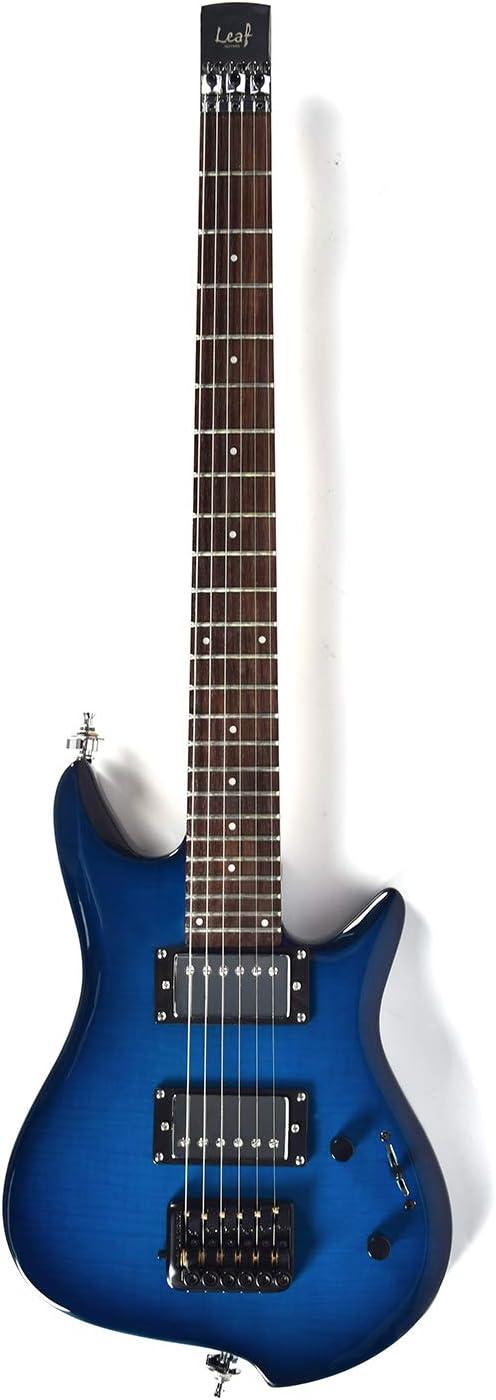 Asmuse Guitarra Eléctrica sin Cabeza, Guitarra LEAF pequeña de Escala Completa, Ultra-ligero para Viajes y Presentaciones-Azul