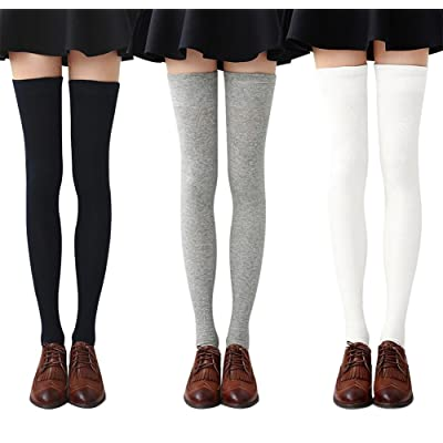 b38a85e345d Chalier 3 Pairs Womens Long Striped Socks Over Knee Thigh High Socks  Stocking