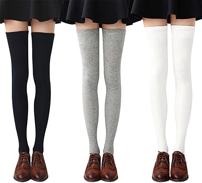 uk cheap sale great fit buying now Chalier 3-4 Pairs Womens Thigh High Socks Cotton Striped Over the Knee  Socks Long Knee High Socks for Women