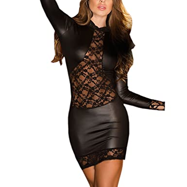 688137cd065 Femmes sexy lingerie wetlook en cuir mini robe backless clubwear vêtements  de nuit pantalon cuir combinaison cuir femme sexy combinaison  Amazon.fr   ...