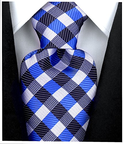 Thin Mens Necktie - Gingham Plaid Ties for Men - Woven Necktie - Blue and Black