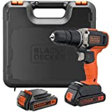 Black+Decker 18V 1.5Ah 650 RPM Combi Hammer Drill with 2 Batteries in Kitbox for Metal, Wod & Masonry Drilling…