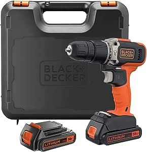 Black+Decker 18V 1.5Ah 650 RPM Combi Hammer Drill with 2 Batteries in Kitbox for Metal, Wod & Masonry Drilling & Screwdriving/Fastening, Orange/Black - BCD003C2K-GB, 2 Years Warranty