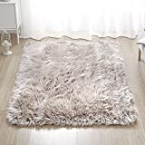 LEEVAN Rectangle Sheepskin Rug Supersoft Fluffy Area Rug Shaggy Silky Throw Rug Floor Mat Carpet Decoration (4 ft x 6 ft, Coffee)