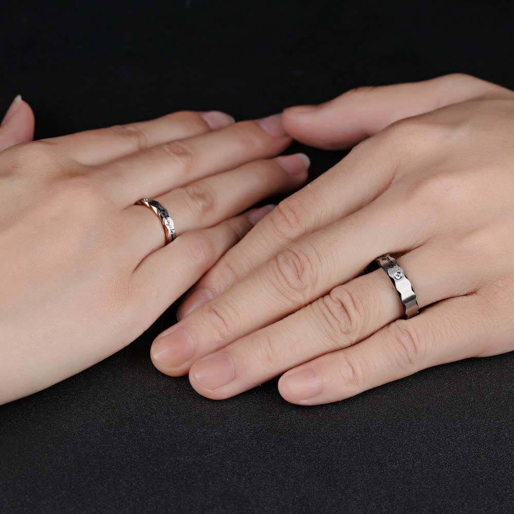 His and Hers Stainless Steel Matching Couple Rings Set I Will Always Be with You Promise Wedding Band CZ