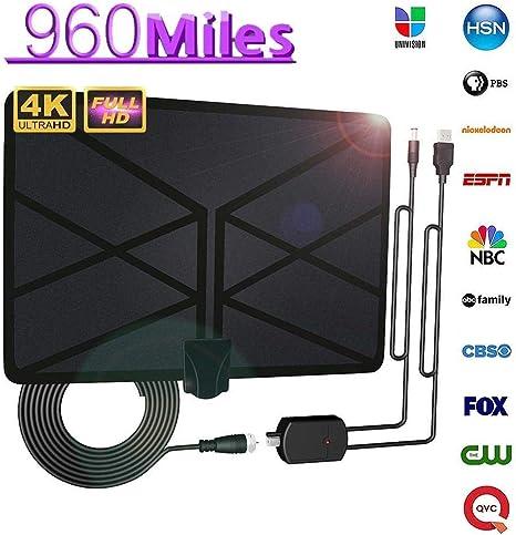 BangHaa El más Reciente Antena de TV Digital amplificada de Interior Antena HDTV 120 Millas de Alcance con 4K HD1080P TDT TV for la Vida Canales Locales: Amazon.es: Electrónica