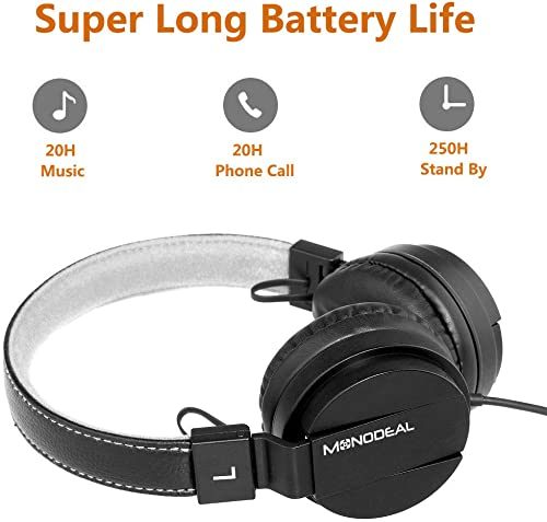 Monodeal Kids On Ear Headsets with Active Noise Cancelling, Children Girls Boys Teens Adults Foldable Adjustable Wired Headphones Compatible with iPad Cellphones Computer Tablet MP3 4 Study Airplane