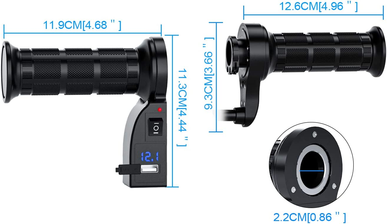 12V Heated Grips Kit 2.1A 6W for 22mm Motorbike ATV Handlebar 7//8 with Voltmeter /& USB Charger 1 Pair Blue LED