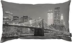 HOSNYE Brooklyn Bridge Throw Pillow Cover New York City with Downtown Skyline Over East River Linen Fabric for Couch Bed Sofa Car Waist Cushion Cover 12 x 20 inch Pillow Case