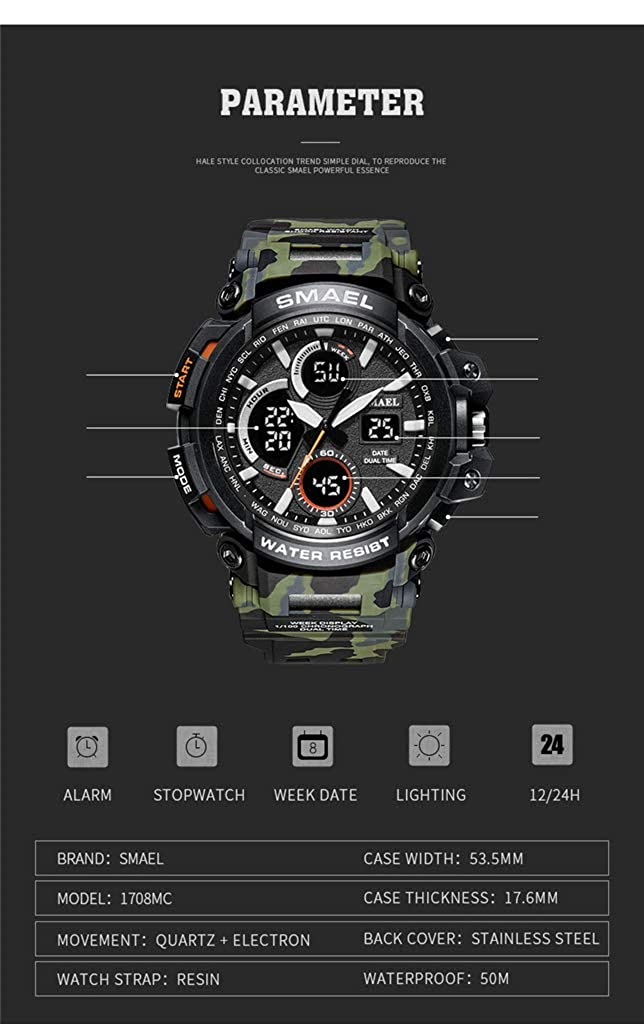 Amazon.com: SMAEL Sports Analog Digital Watch for Men Quartz Military Wristwatch Waterproof Multifunctional Camouflage Dial watches(Blue): Clothing