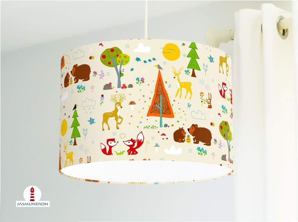 Lampe Waldtiere fürs Baby und Kinderzimmer in Beige handgemacht