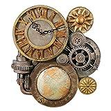 Design Toscano Gears of Time Steampunk Wall Clock Sculpture, Medium 43.25 cm, Polyresin, Full Color
