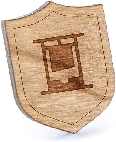 Guillotina - Pin de solapa de madera y alfiler para corbata, rústico y minimalista, regalos y accesorios de boda: Amazon.es: Joyería