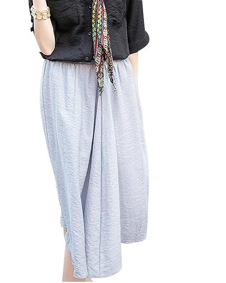 Yonglan Mujer Maxi Larga Cintura Elástica Falda Bohemio De Playa ...