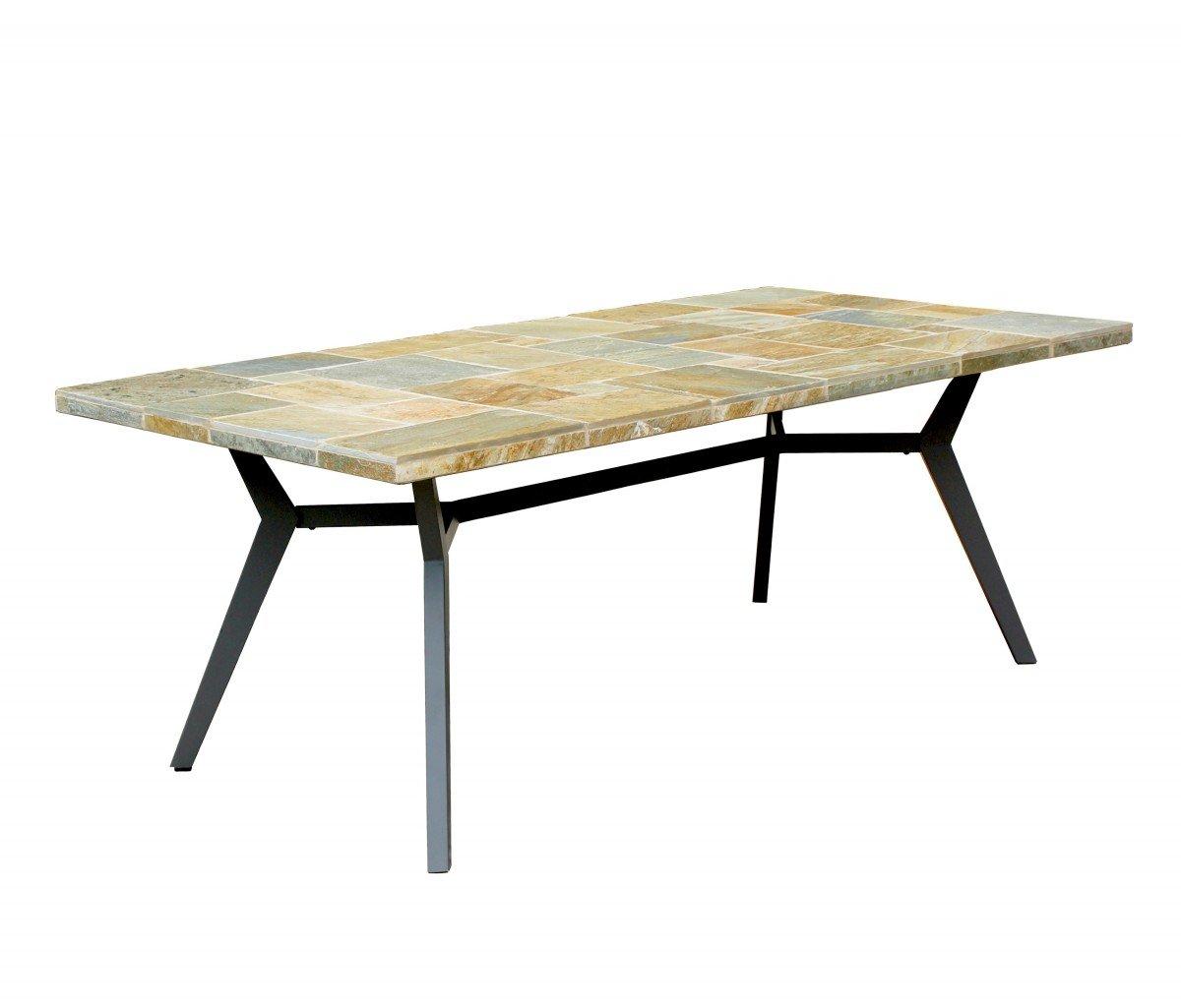 Dreams4Home Dinning Tisch 'Arun' - Tisch, Gartentisch, Stahltisch, Tisch mit Naturschieferplatte, mit Naturschiefer , B/H/T: 200 x 73 x 100 cm, Kaffeetisch, Stahlgestell, in anthrazit