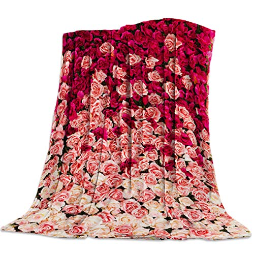 - Red Pink Roses Flannel Fleece Throw Blanket Lightweight Cozy Bed Sofa Blankets Super Soft Fabric 49x59 Inch