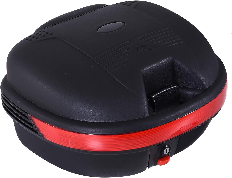 Baúl Moto Universal 30L + Llaves y Accesorios Equipaje Caja de Moto Topcase Casco para Motocicleta Ciclomotores Scooter