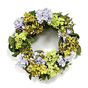 Puleo International 22-inch Artificial Hydrangea Wreath Potted Plant 9