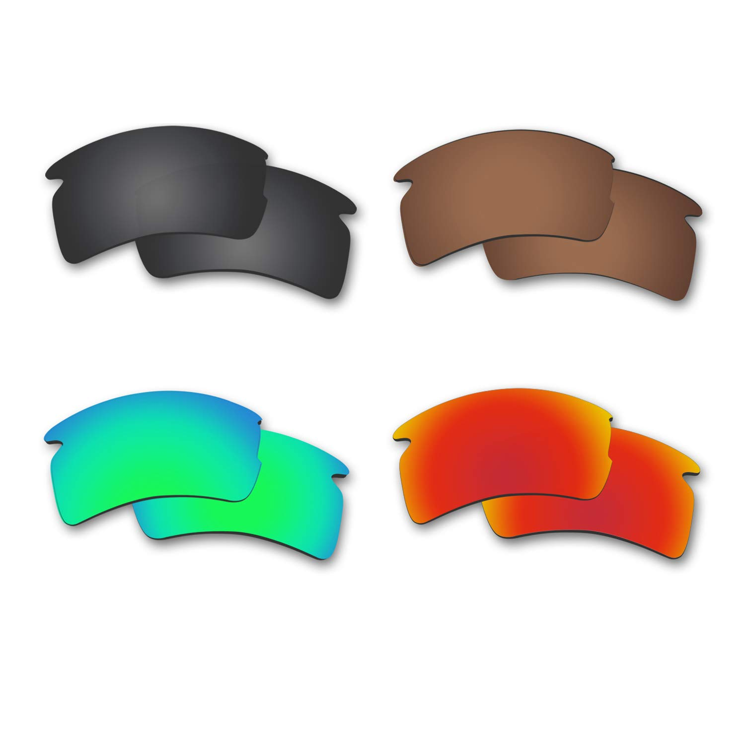Fiskr Anti-saltwater Polarized Replacement Lenses for Oakley Flak 2.0 XL Sunglasses 4 Pairs by Fiskr