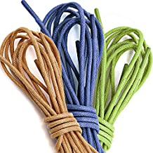3 PAIRS PACK DailyShoes Waxed Round Thin Shoelaces for Hiking Dress Oxford Flat Shoes