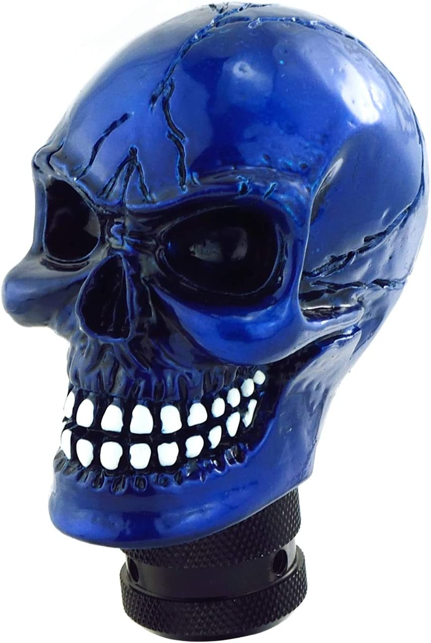 Lunsom Skull Gear Shift Head Resin Shifter Knob Car Transmission Shifting Stick Handle Fit Most Automatic Manual Vehicle (Navy Blue)