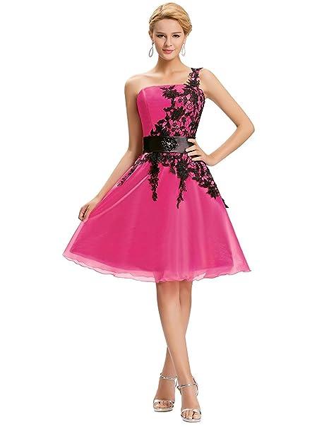 Quissmoda vestido corto largo fiesta, noche, gala, talla 34, color fuxia