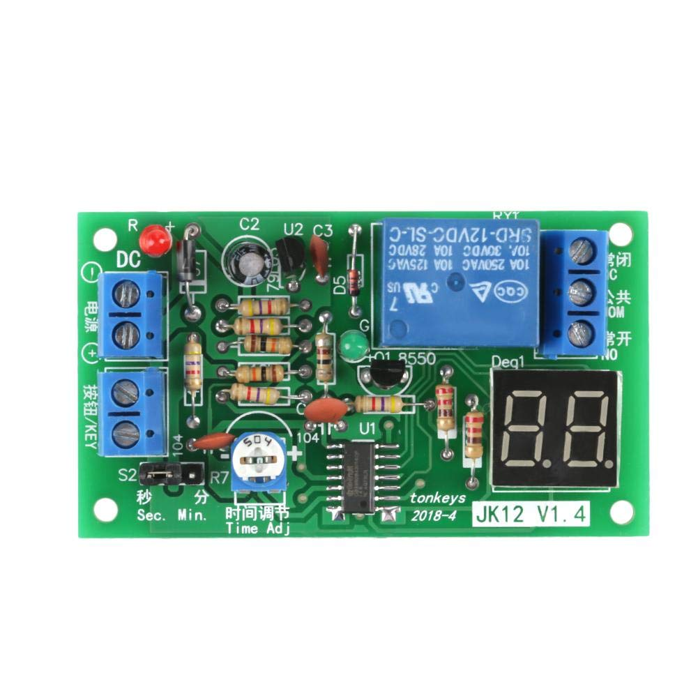 DC12V Digital LED Display Countdown Timing Delay Timer Switch Turn OFF Relay Module 1-99s/ 1-99min Adjustable Walfront