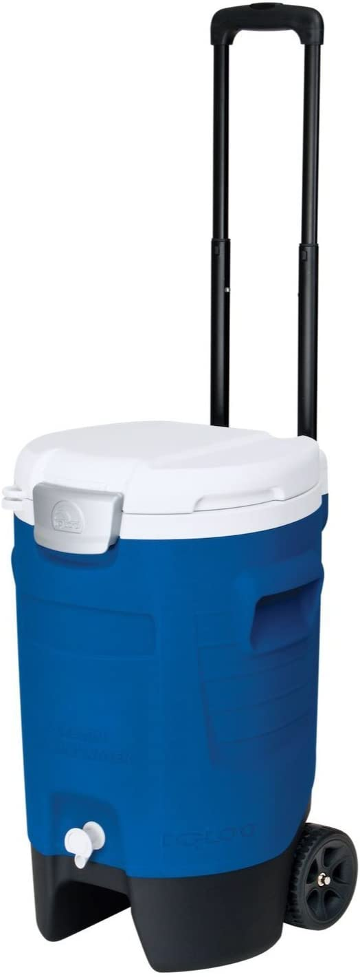 Igloo 5 Gallon Wheeled Portable Sports Cooler Water Beverage Dispenser with Flat Seat Lid, Blue, Model Number: 42256