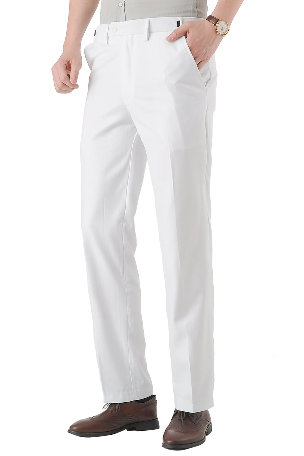 CMDC Men's Banquet Wedding Groom Dress Suit Pants D274£¨34W-32L White