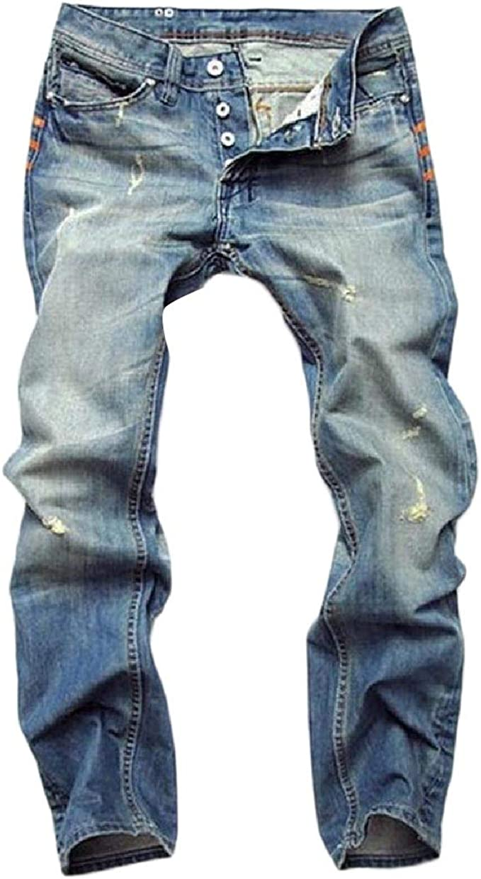 Abetteric Mens Broken Hole Straight-Fit Pencil Jeans with Pockets