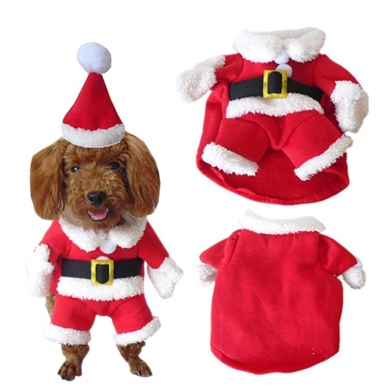 SYMTOP Disfraz Navideño de Papá Noel para Perro Pequeño con Gorro de Navidad para Mascotas Accesorios Fiesta de Navidad Party Foto de Vacaciones de ...