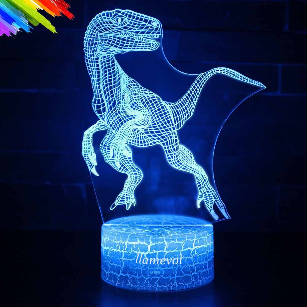 Dinosaur Night Lights for Kids Christmas Gift Birthday Indoraptor Toy 3D Illusion Lamp Animal Light Led Desk Lamps Gifts for Baby Home Decor Office Bedroom Party Supply Decorations 7 Color Blue
