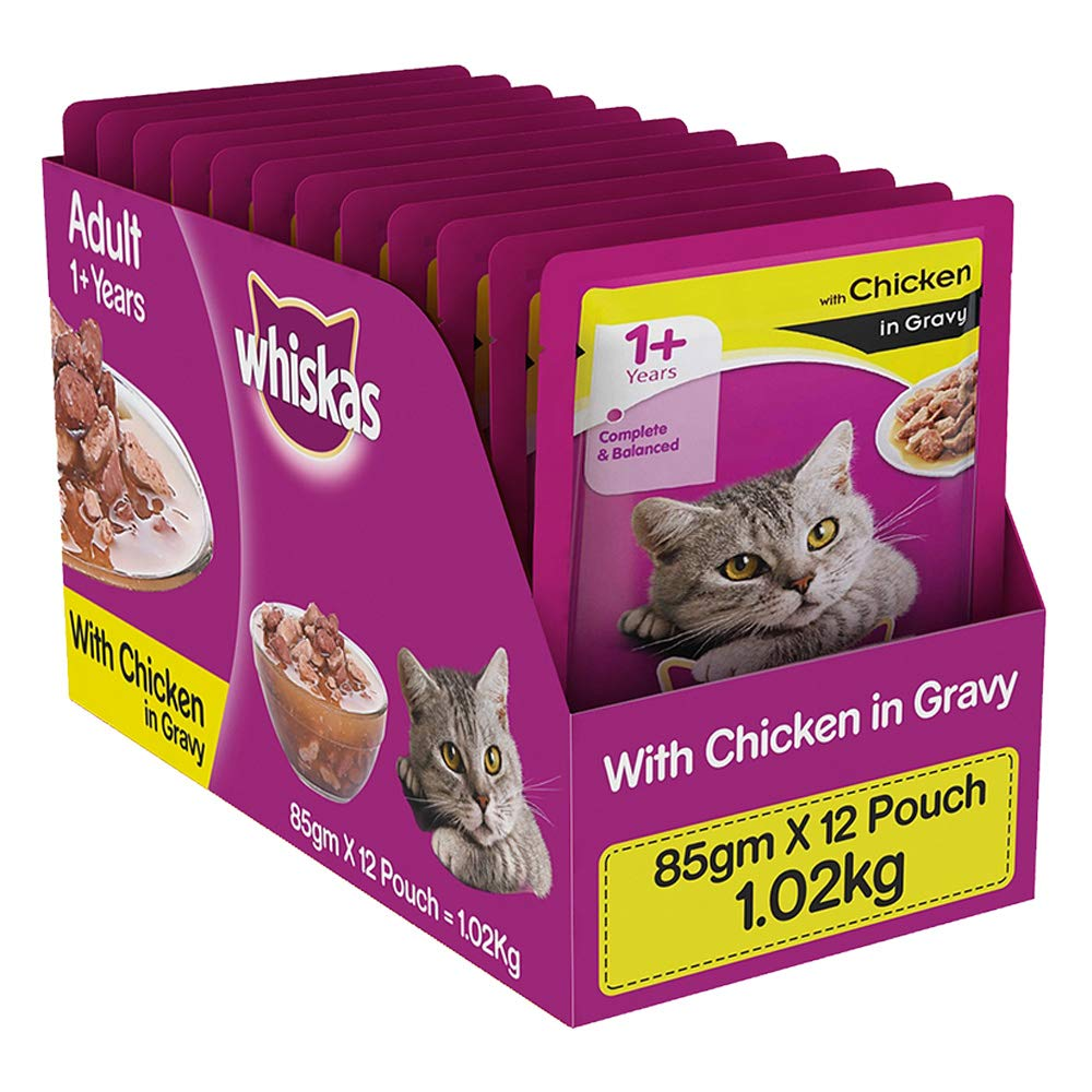 Whiskas Adult (+1 year) Wet Cat Food, Chicken in Gravy, 12 Pouches (12 x 85g) product image