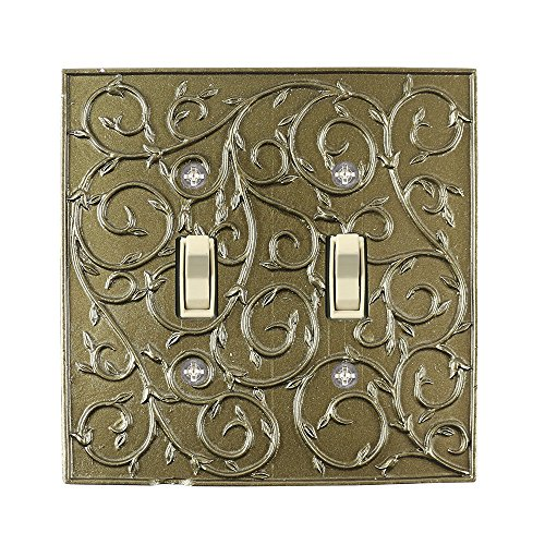 Meriville French Scroll 2 Toggle Wallplate, Double Switch Electrical Cover Plate, Aged Gold (Aged Gold Wall)