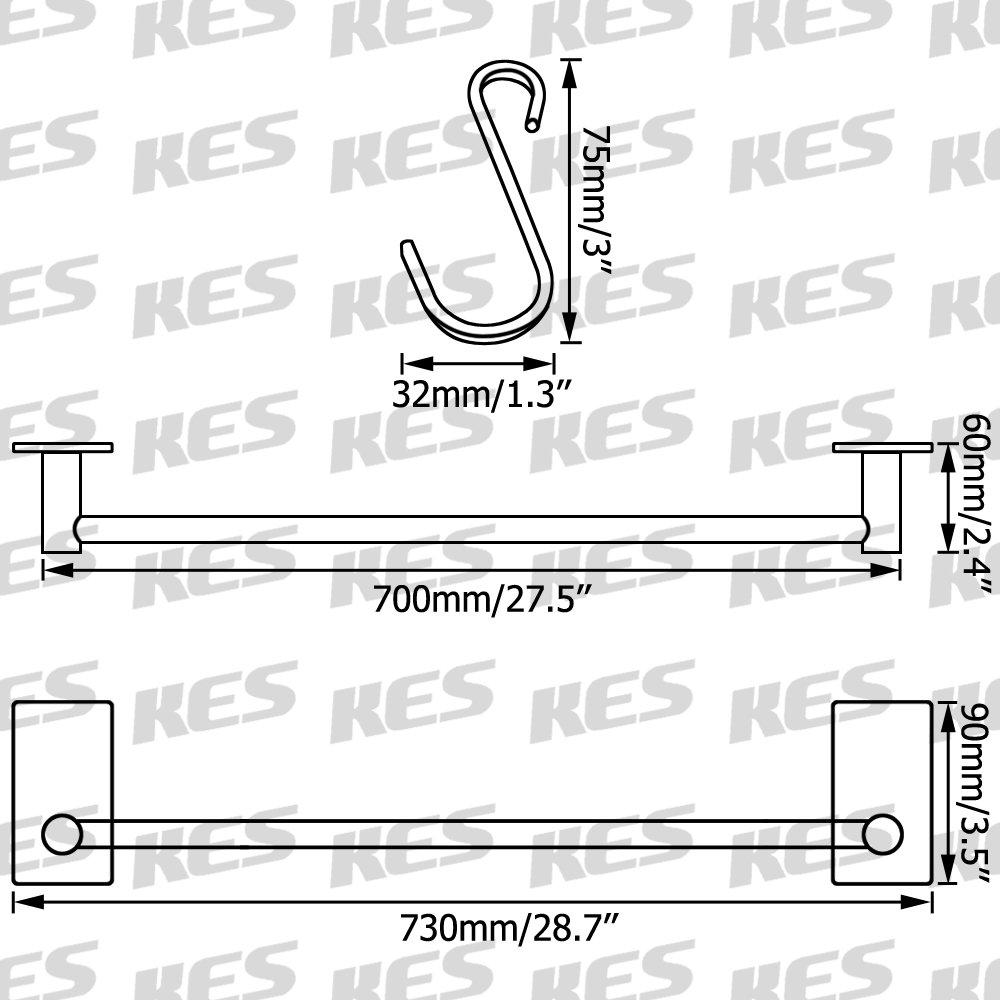 KES Self Adhesive 30-Inch Pan & Pot Rack with 10 Hooks SUS 304 Stainless Steel Sticky Kitchen Storage Organizer Bar Shelf Utensil Stick on Hanger Rustproof Wall Mount, Brushed Finish, KUR202S70-2 by Kes (Image #2)