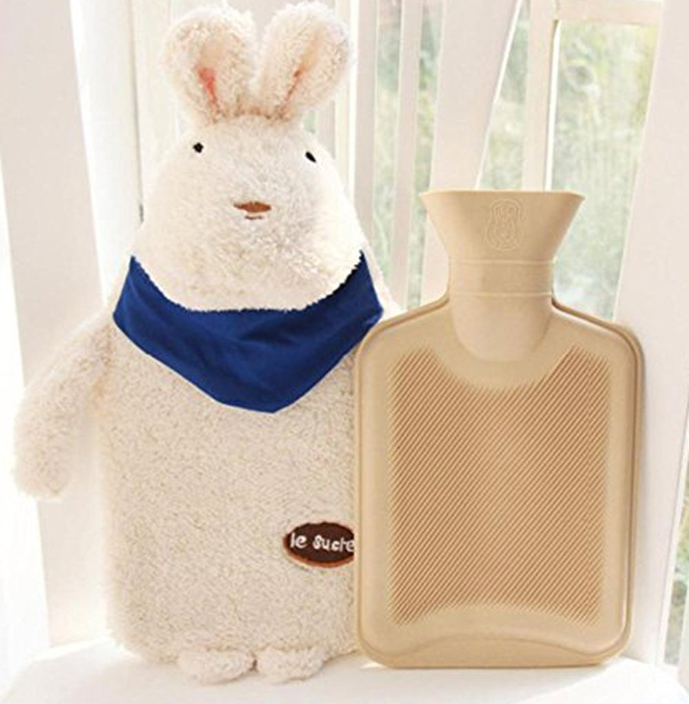Hot Water Bottle Rabbit ~ Easter Bunny Baby Kids Hand Foot Warmer Hot Water Bag With Rabbit Plush Cover ~ By Cafolo