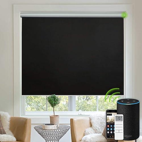 Yoolax Motorized Blinds Blackout Fabric Automatic Shades Remote Control Cordless Room Darkening Window Blinds Black